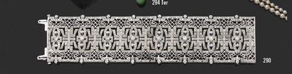 Bracelet ruban large en or gris 18K (750)...