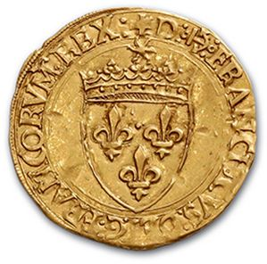 Gold shield with sun, 5th type. Bayonne (anchor). 3,36 g. D. 775. TTB to superb...
