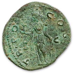 AELIUS (136-138) As. R/ Fortune standing left. Joint dupondius of Hadrian (R/ Eternity...