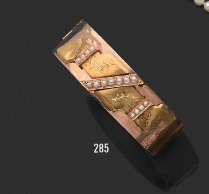 Bracelet ruban en or jaune (750), serti de...
