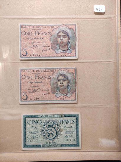Ensemble de 33 billets, dont 500 F Tunisie...