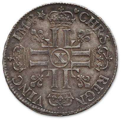 Écu aux huit L, 1er type. 1690. Amiens. Réf. D. 1514A. Presque superbe.