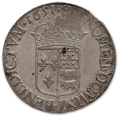 Écu de Béarn à la mèche longue. 1651. Pau. D. 1477. Rare en cet état. TTB à sup...