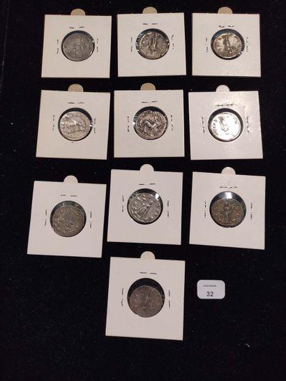 Antoninien: 10 exemplaires. Gordien III (3 ex.) C. 155, 167 et 203 - Philippe Ier...
