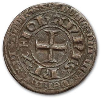 JOHN II, the Good (1350-1364) Piéfort du blanc au châtel tréflé. 13,92 g. Billon....