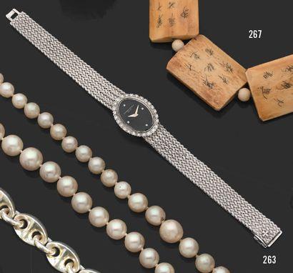 VACHERON CONSTANTIN Montre bracelet de dame en or gris 18K (750) à boîtier_x001f_ovale,...