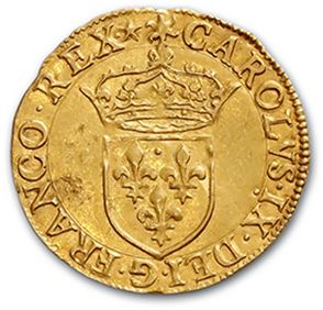 HENRI III (1574-1589) Gold shield with sun in the name of Charles IX. 1575. 3.38...