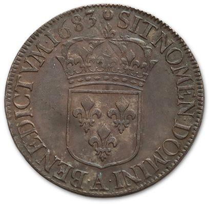 Écu à la cravate, 2nd type (écu au jabot). 1683. Paris. D. 1500. Very rare. Almost...