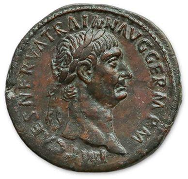 TRAJAN (98-157) Sesterce. Rome (99). Sa tête...