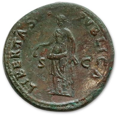 NERVA (96-98) Sesterce. Rome (97) His head laureate right. R/ Liberty standing left,...