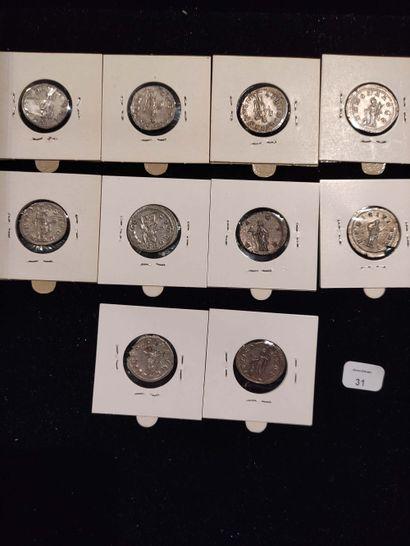 Antoninian: 10 copies. Gordian III (3 copies) C. 109, 121 and 130 - Philip I (2...