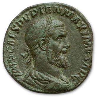 PUPIEN (238) Sesterce. Rome. Son buste lauré,...