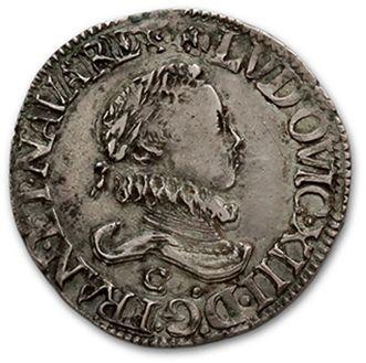 LOUIS XIII (1610-1643) Demi franc, 4e type....