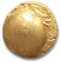 AMBIANI, Amiens region (1st century B.C.) Uniface gold statere. 6,29 g. Disarticulated...