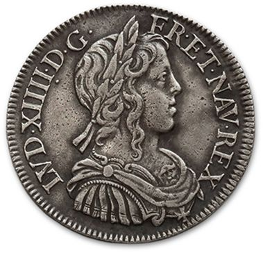 Demi écu à la mèche longue. 1653. Paris....