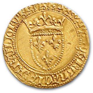 CHARLES VII (1422-1461) Écu d'or, 1er type. 3,46 g. D. 453C. TTB à superbe.