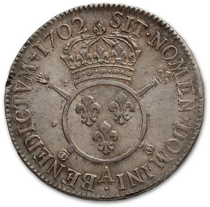 Écu aux insignes. 1702. Paris. Flan neuf. D. 1533. Très bien conservé. TTB à su...