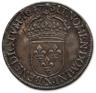 Écu à la mèche longue. 1647. Montpellier. D. 1469. TTB à superbe.