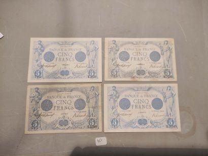 Quatre billets 5 F bleus de 1913 à 1917 (F. 2) TB à TTB, Spl.