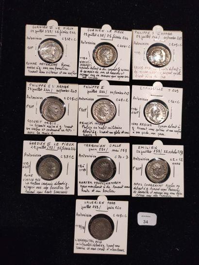 Antoninien: 10 exemplaires. Gordien III (3...