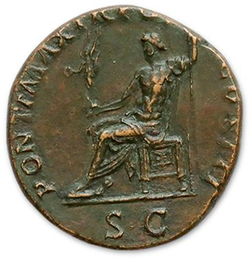 HADRIAN (117-138) Sesterce. Rome (119). His laurelled bust right. R/ Jupiter seated...