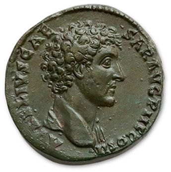 MARC AURELUS (161-180) Sesterce. Rome (145). His head naked on the right. R/ The...