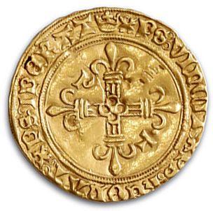 Écu d'or au soleil. Type spécial: la croix cantonnée de lettres (P et T). 3,44 g....