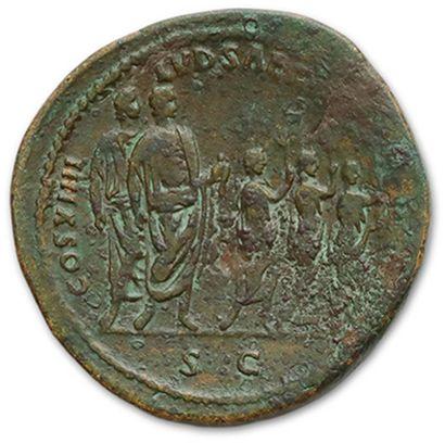 DOMITIAN (81-96) Sesterce. Rome (88) His head laureate right. R/ Domitian standing...