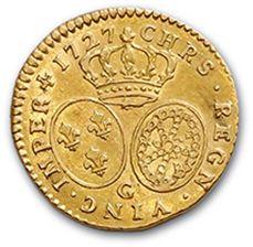 Demi louis d'or aux lunettes. 1727. D. 1641. TTB à superbe.