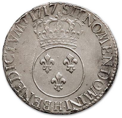 LOUIS XV (1715-1774) Écu vertugadin. 1717. La Rochelle. Flan neuf. D. 1651. Plusieurs...