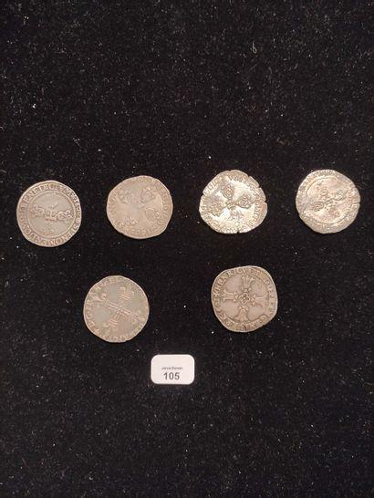 Demi franc: 4 exemplaires. 1596 Rouen, 1600 Saint-Lô, 1602 Limoges et 1606 Limoges....