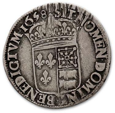 Demi écu de Béarn à la mèche longue. 1658.3 Pau. D. 1478. Rare. B à TB.