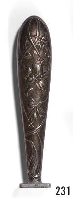 Engraved silver seal PB, the grip with iris decoration in interlacing. Pb: 11,98...