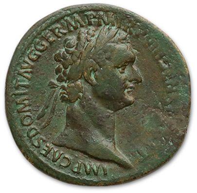 DOMITIEN (81-96) Sesterce. Rome (88) Sa tête...