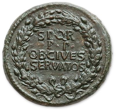 CALIGULA (37-41) Sesterce. Rome (39-40). His head laurel to the left. R/ Legend...