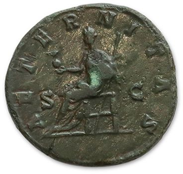 LUCILLE, épouse de Lucius Vérus Sesterce. Son buste à droite. R/ Vesta debout à...