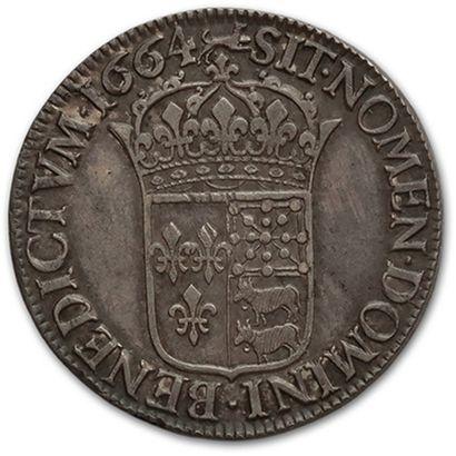 Écu de Béarn au buste juvénile. 1664. Pau. D. 1490. Très bel exemplaire.