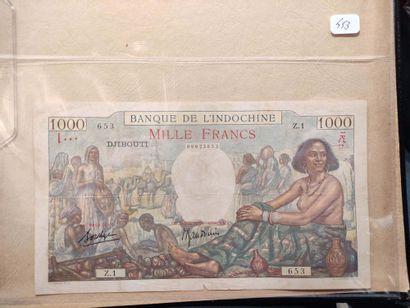 Ensemble de 6 billets, dont 500 et 1.000...