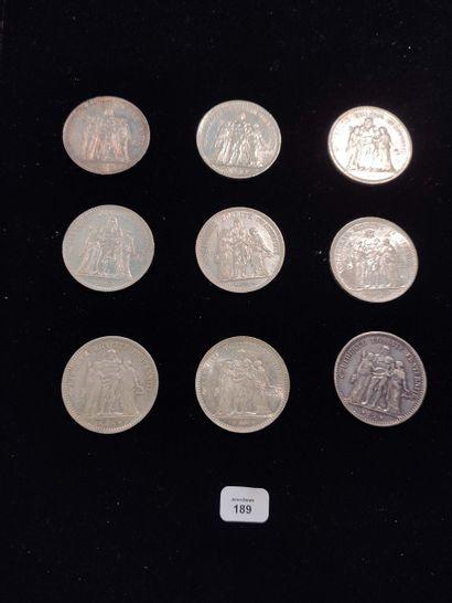 5 Francs: 9 exemplaires. 1873A, 1873k, 1874A,...