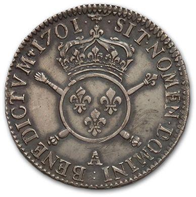 Demi écu aux insignes. 1701. Paris. Réf. D. 1534B Très bel exemplaire