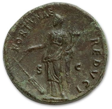 TITUS (79-81) Sesterce. Rome (75). His head laurel to the right. R/ Fortune standing...