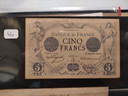 FRANCE - Banque de France Billet de 5 F noir...