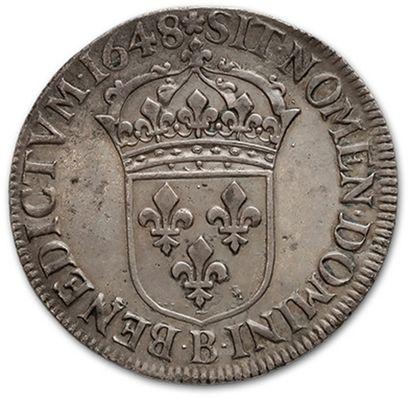 Écu à la mèche longue. 1648. Rouen. D. 1469. TTB