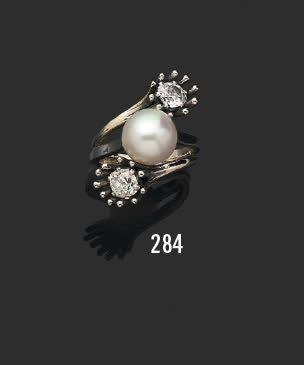 Bague toi et moi en or gris 18K (750) et...