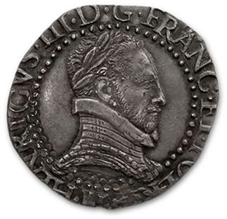 Demi franc au col plat. 1587 (?). La Rochelle....