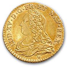 Demi louis d'or aux lunettes. 1727. D. 1641....