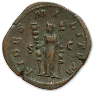 MAXIMIN I (235-238) Sesterce: 2 copies. R/ Faithfulness and R/ Victory on the left....