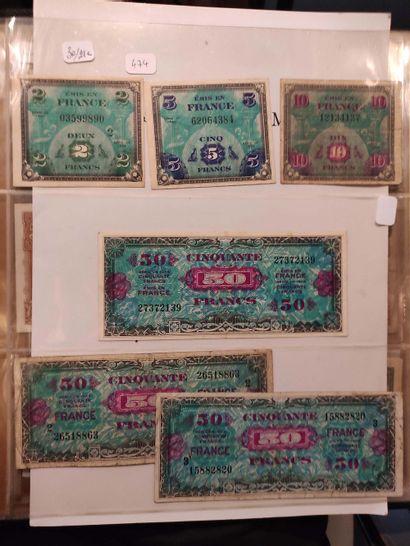 Ensemble de 21 billets du Trésor, dont 500...