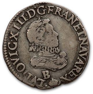 Demi franc. 1616 (?). Rouen. D. 11310v, Presque...
