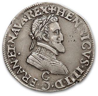 Demi franc. 1597. Saint-Lô. D. 1212. Flan...